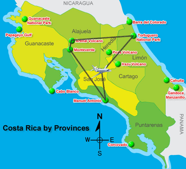 Map of Costa Rica - Costa Rica in 10 Days