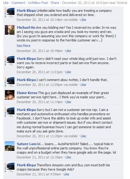 Autopartsway Facebook Response